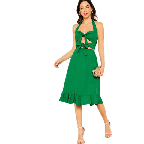 c6cea5ab6d Green Sexy Backless Knot Front Ruffle Hem Halter Zipper Long Plain Dress  Women Casual Summer Sleeveless Dresses
