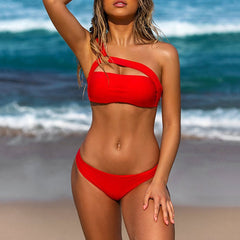 Female Summer Swimwear Sexy Women Bikini Set Padded Swimwear Solid Hollow Bathing Swimsuit Beachwear