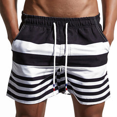 Summer Men Casual Shorts Stripe Elastic Waist Drawstring Short Pants Mens Beach Wear Shorts