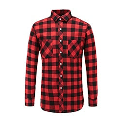 Costbuys  Men's Red And Black Long Sleeve Plaid Men's Shirt Autumn Checked Brand Casual Comfort Outwear Shirts Male Blouse - P00