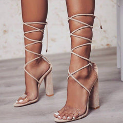 Women Heeled Sandals Bandage Ankle Strap Pumps Super High Heels 11 CM Square Heels Lady Shoes