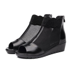Genuine Leather Women Sandals Summer Mid Heel Shoes Woman Platform Wedges Boots Female Fashion Black Color Sandal Footwear