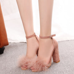 Women's high heels sexy women's pumps feather sandals fashion in women's shoes wedding shoes
