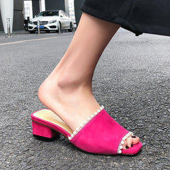Women Sandals Block Heel Summer Shoes Ladies High Heeled Shoes Woman Buckle Female Footwear Slippers Sandals