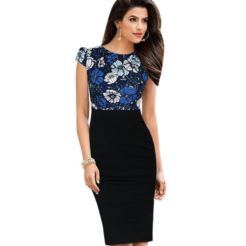 Nice-forever New Print Stylish Elegant Casual Work Ruched Cap Sleeve Gather O-Neck Bodycon Knee Women Office Pencil Dress