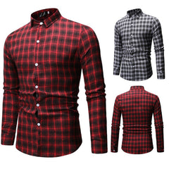 Plaid Print Shirts Men's New Simple Chequered Long Sleeve Shirt Fashion Long Sleeve Blouse Top camisa modis