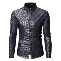 Male Paisley Printed Shirt Long Sleeve Men Tops Turn-down Collar Gentleman Business Casual Blusa Man Loose Shirts