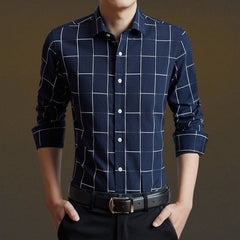 Men Shirt Mens Business Casual Shirts Men Clothing Plaid Long Sleeve Camisa Masculina