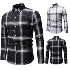 Men Clothes Men's New Simple Chequered Long Sleeve Shirt Fashion Long Sleeve Blouse Top camiseta hombre