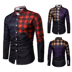 Men's business patchwork multicolor plaid casual long-sleeve shirt fashion nightclub dance cool shirts top clothes