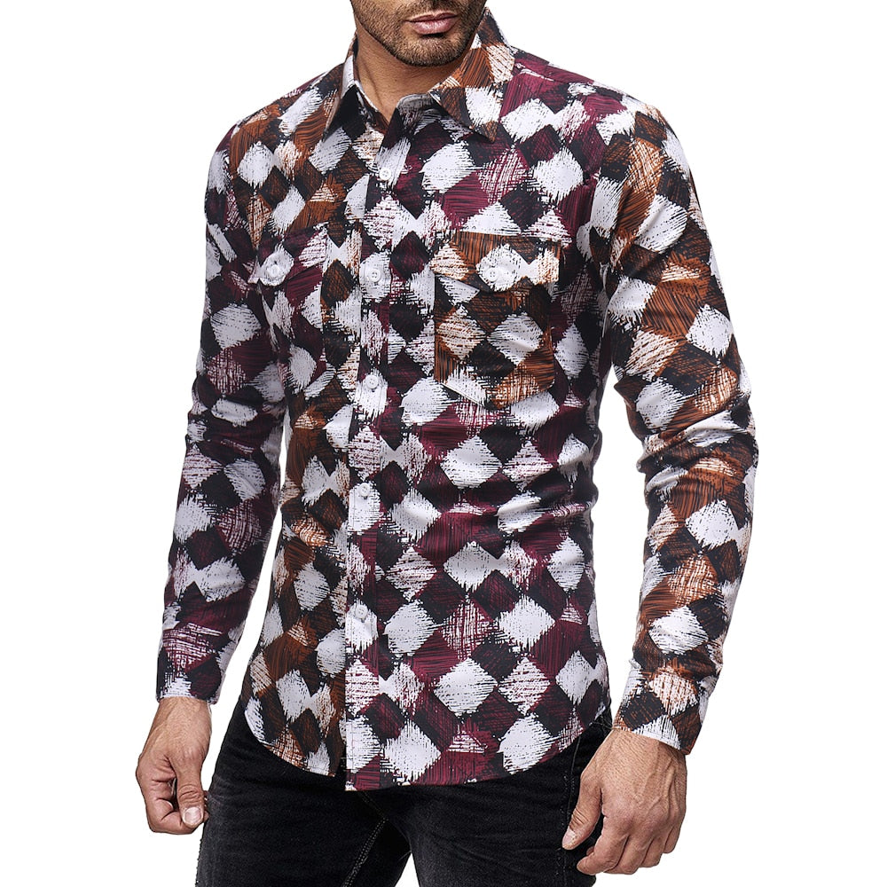 Men's Floral Shirt Stand Collar Shirts Long Sleeve Casual Flower Shirt Foreign Trade Male Cotton Fitness Shirt