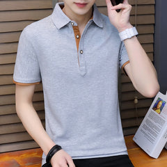 Cotton polo Shirt Men Trend Teenagers Leisure Self-cultivation Thin Polo Shirts For Men Solid Top Tee