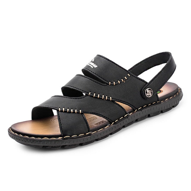 Costbuys  Outdoor Sandals For Men  Casual Fashion Shoes Casual Summer Slipper Casual Blue Brown Flat Sandals For Men - Black / 1