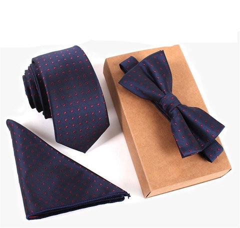 Business Mens Suit Dot Necktie & Pocket Square Towel & Bow Tie Set Wedding Handkerchief Skinny Tie gravata Papillon Corbata