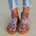 Women Bohemia Colorful Summer Gladiator Flat Ankle Strap Sandals Shoes Lady Casual Sandals Shoes