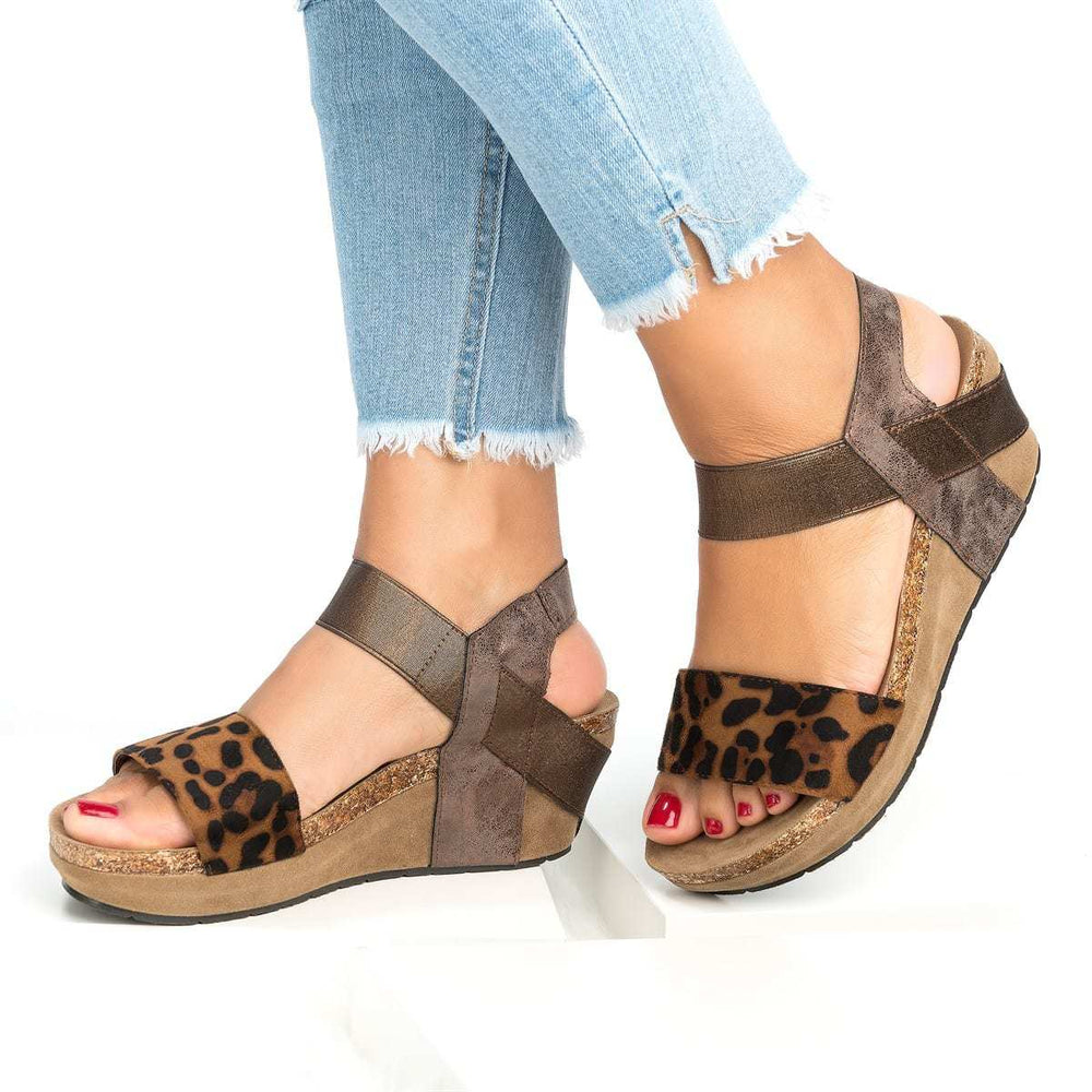 Women Leopard Flat Platform Summer Gladiator Sandals Shoes Ladies Sexy Party Ankle Strap Sandals Shoes