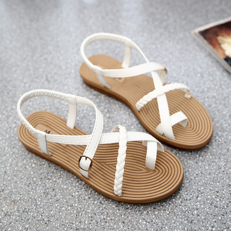 Summer Shoes Woman Sandals Elastic Flat Strappy Gladiator Beach Sandals Ladies Flip Flops White