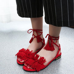 Women Summer Tassel Flat Sandals Female Sexy Ankle Cross Strap Gladiator Shoes Ladies Casual Lolita Beach Shoes Footwear