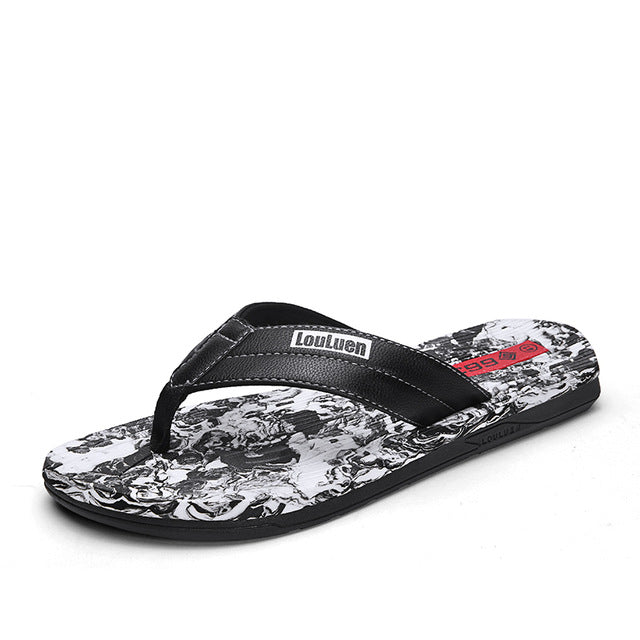 Costbuys  Men Walking Beach Shoes Anti-Slip Pu Leather Man Soft Slippers Camo Male Summer Flip Flops Indoor Shower Slippers - Bl