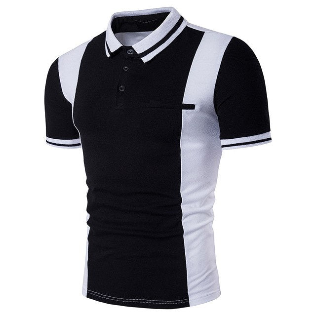 Costbuys  Summer Men's Polo Shirt Black and White ColorShort Sleeves polo shirt Silm Fit Casual Young POLO Shirt Mens Clothing -