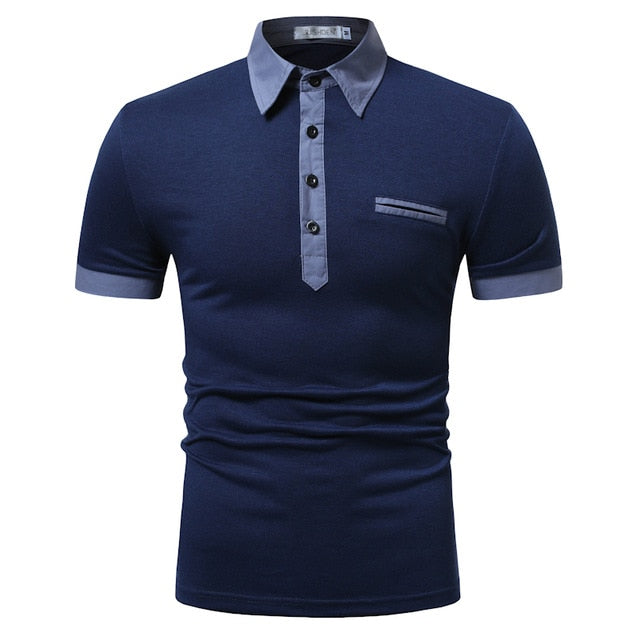 Costbuys  POLO shirt men's  two-color stitching fashion short sleeve  long door tube decorative casual cotton breathable POLO -