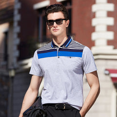 Men's Polo Shirt Stripe printing high quality short-sleeved polo shirt Casual Male polo shirt