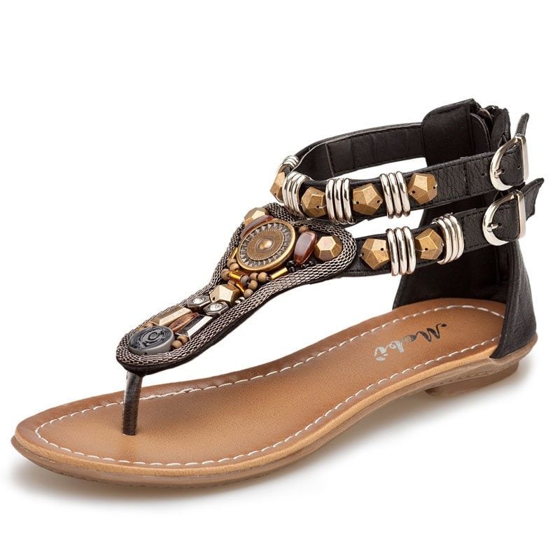 New Women's Gladiator Roman Indian Ethnic Style Leather Flats Sandals Shoes Gladiator Sandals Women Sexy Stud Women Flat Shoes