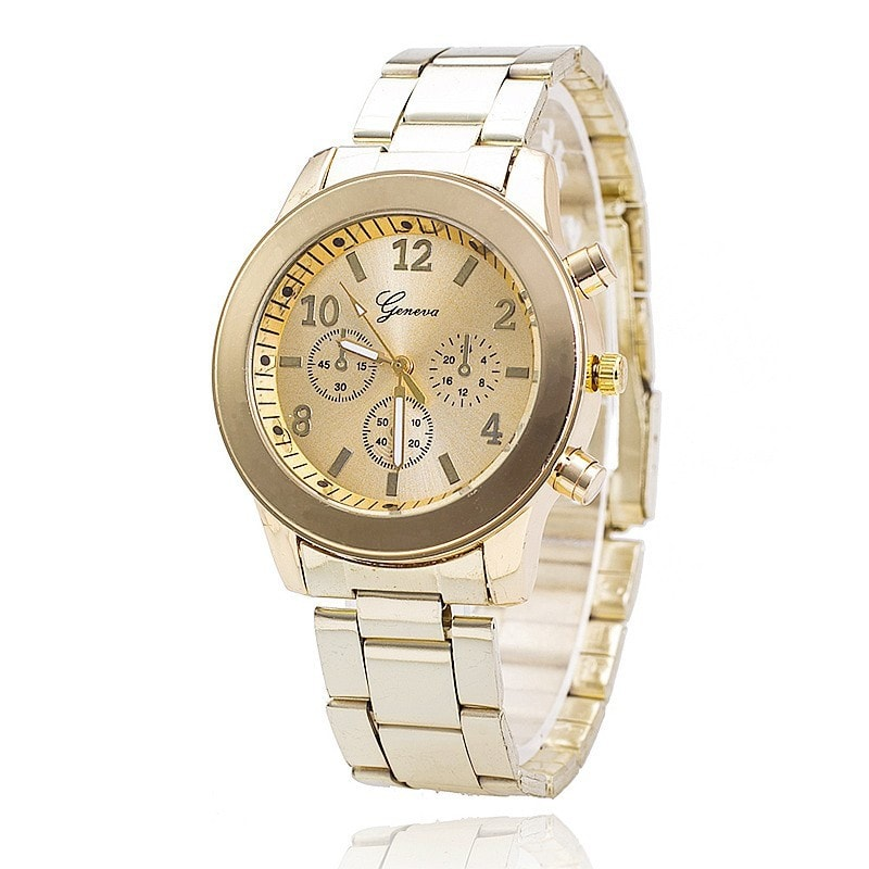 New Fashion Women Analog Quartz Rose Gold Stainless Steel Geneva Dress Wrist Watch Gift