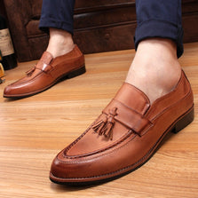 2015England mens shoes casual pointed toe Vintage Autumn shoes leather elevator shoes winter Men Tassel dress shoes FreeShipping