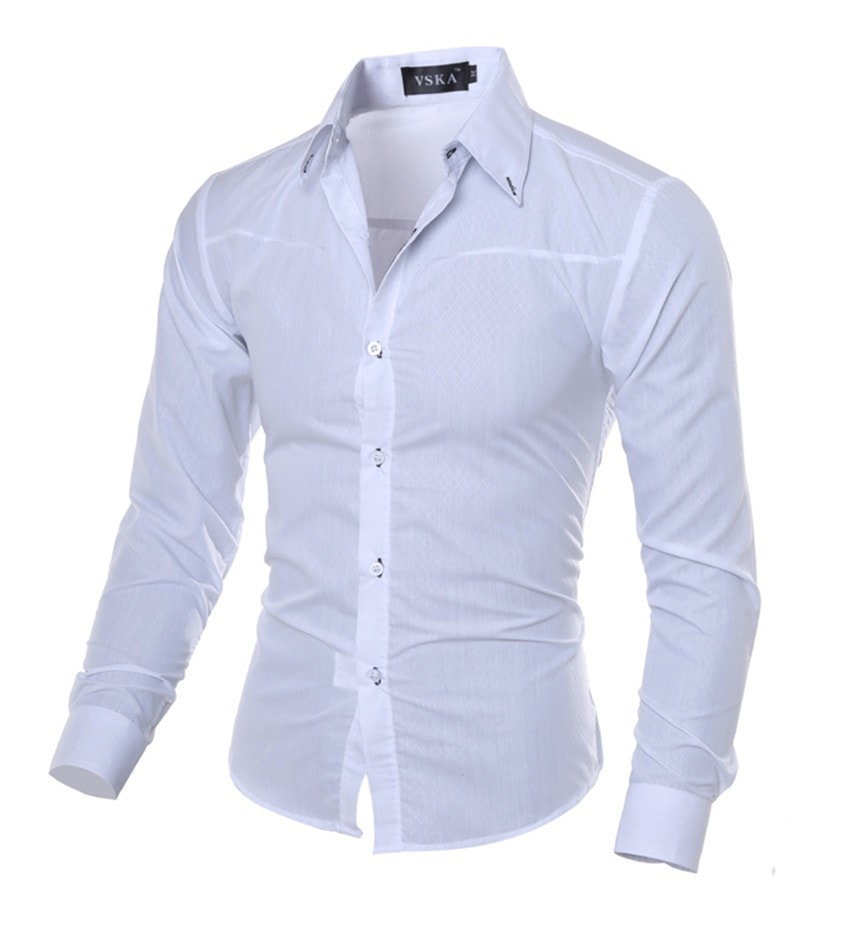 Men Shirt New Arrival Male Solid Color Mandarin Collar Business Long Sleeve Casual Shirt Cotton Dress Shirts M-5XL