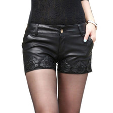 2016 Autumn Winter Women Shorts Black PU Womens Shorts Flower Emboidery Printing Leather Shorts Sexy Mini Shorts B67810