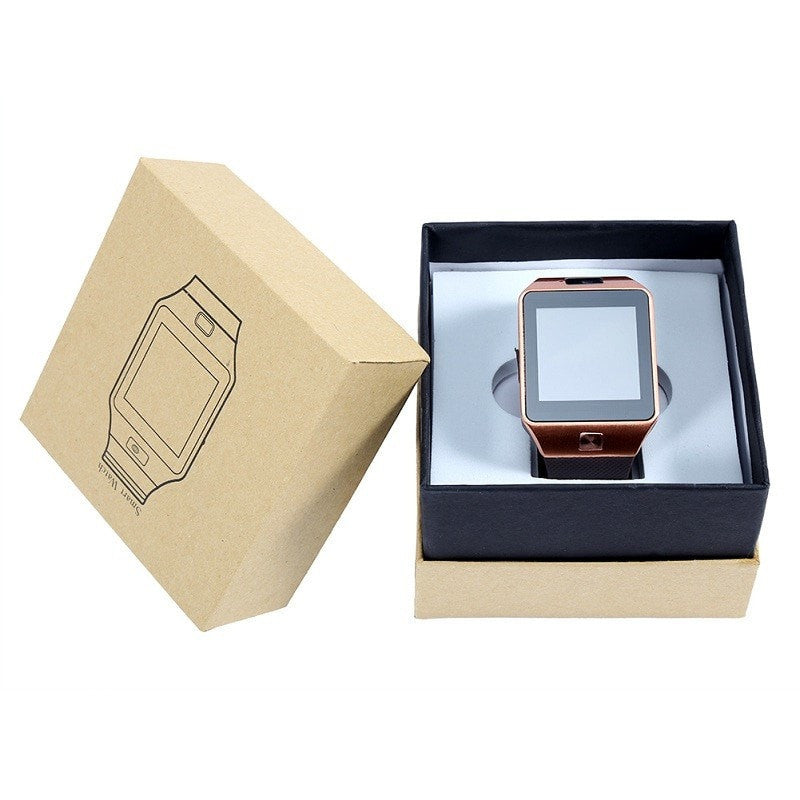 Costbuys  New Smart Watch With Camera Bluetooth WristWatch SIM Card Smartwatch For Phones Support Multi languages - Gold with Bo