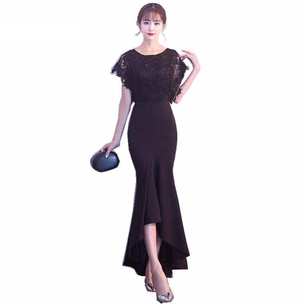Costbuys  Long Evening Dresses Black Lace Top Ruched Mermaid Style Women Evening Dresses - picture color / 6