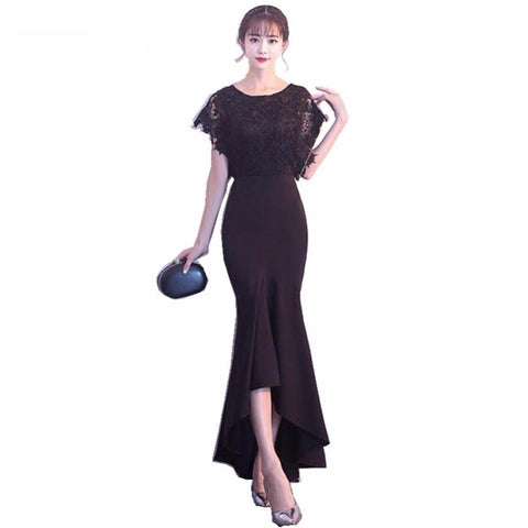 Long Evening Dresses Black Lace Top Ruched Mermaid Style Women Evening  Dresses 9111f8690e06