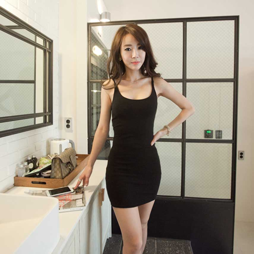 Casual Summer Tank Dress Sexy Tight Fitting Suspender Plus Size