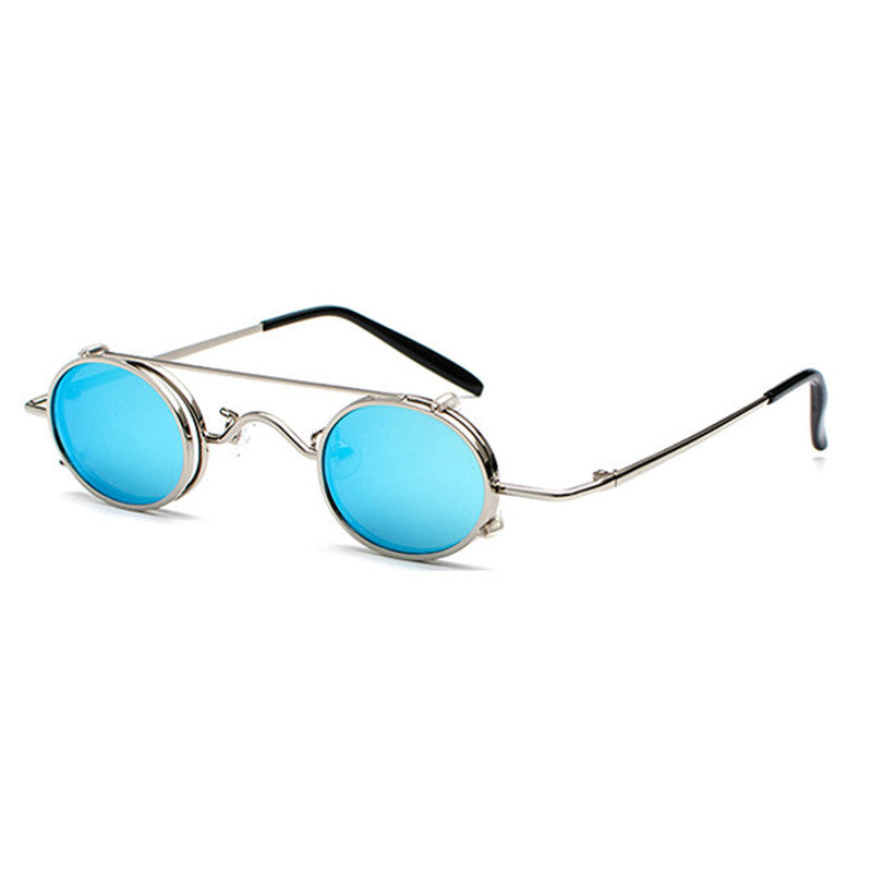 Costbuys  Small oval sunglasses women retro vintage metal frame silver gold black punk clip on sun glasses for men gift with box