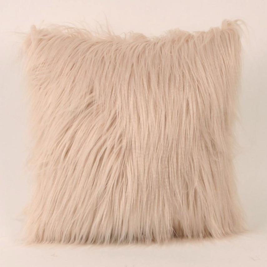 Costbuys  Sofa decorative cushions Plush Furry Cushion  Throw Pillow   Home Bed Room Sofa Decor - A