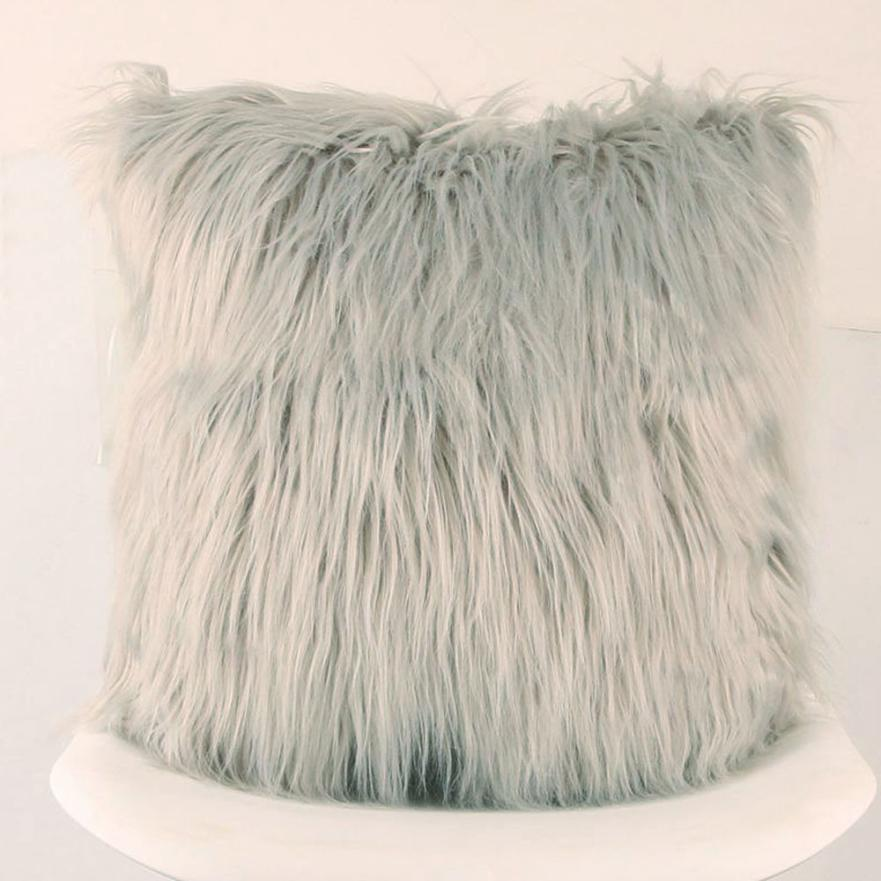 Costbuys  Sofa decorative cushions Plush Furry Cushion  Throw Pillow   Home Bed Room Sofa Decor - C