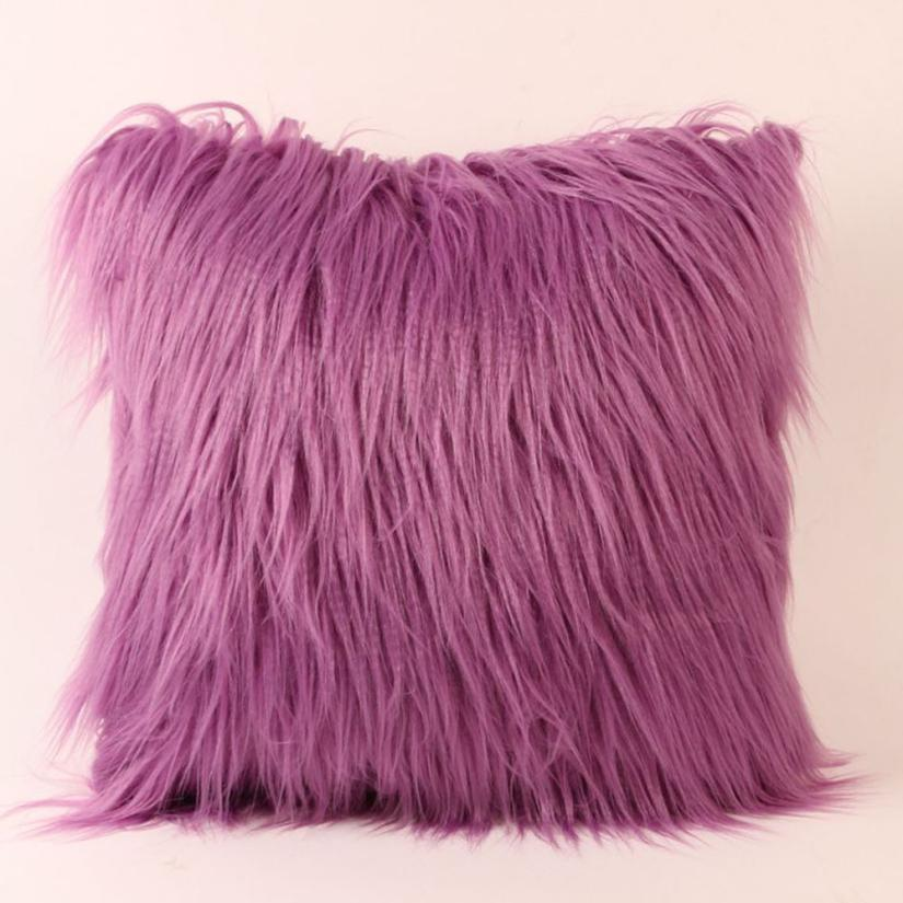 Costbuys  Sofa decorative cushions Plush Furry Cushion  Throw Pillow   Home Bed Room Sofa Decor - H