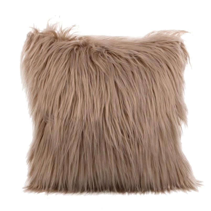 Costbuys  Sofa decorative cushions Plush Furry Cushion  Throw Pillow   Home Bed Room Sofa Decor - D