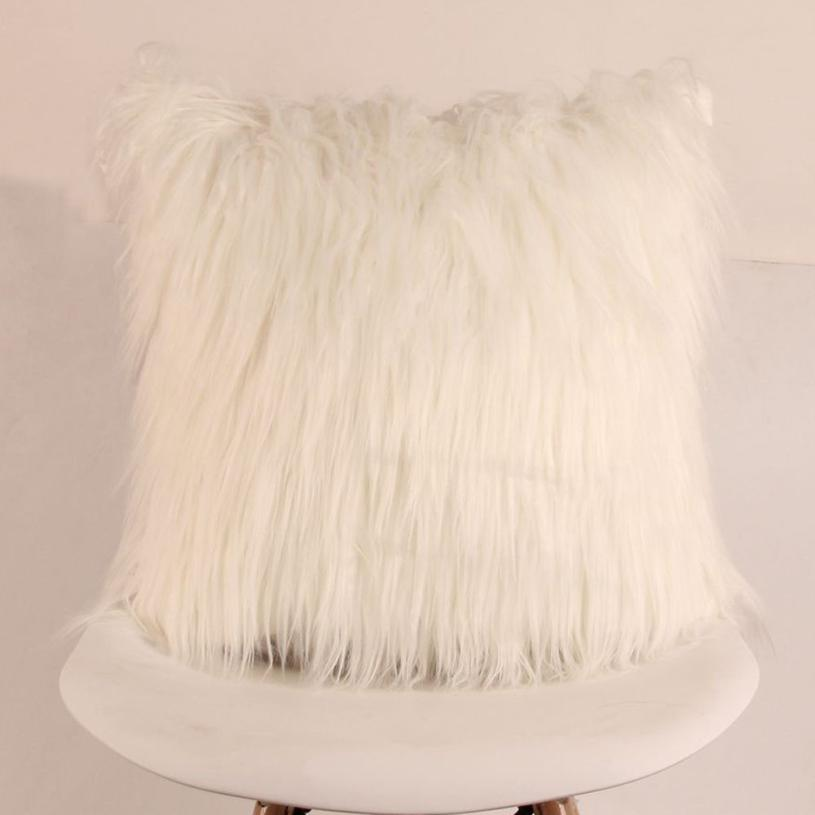 Costbuys  Sofa decorative cushions Plush Furry Cushion  Throw Pillow   Home Bed Room Sofa Decor - I