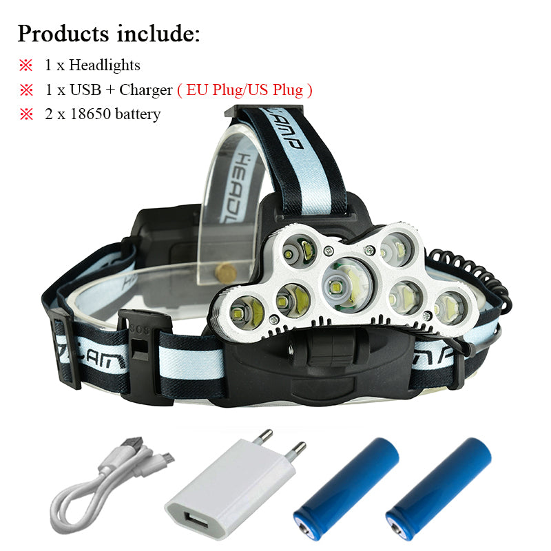 Costbuys  Super bright headlamp 9 CREE XML T6 LED headlight usb rechargeable head lamp 18650 high power led torch head flashligh