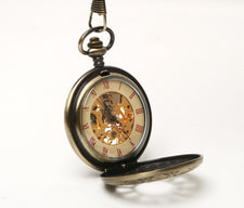 Antique Style Bronze Tone Case Mens Lady Mechanical Pocket Watch