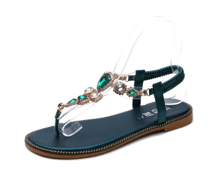 Costbuys  women sandals Flat bottom Sandal  water drill sandals stone chain flat bottom Rome pinch sandals - Green / 4.5