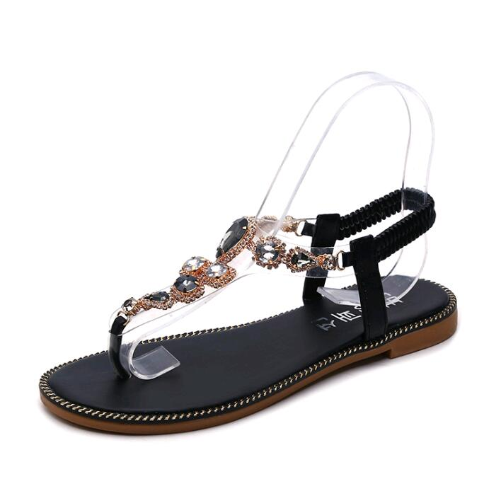 Costbuys  women sandals Flat bottom Sandal  water drill sandals stone chain flat bottom Rome pinch sandals - Black / 4.5