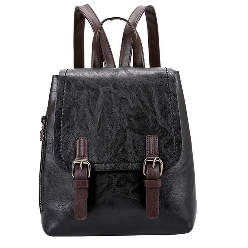 Costbuys  Women PU Leather Two Straps Backpack  for women Travel Satchel School Bag Backpack rucksack - Black / United States