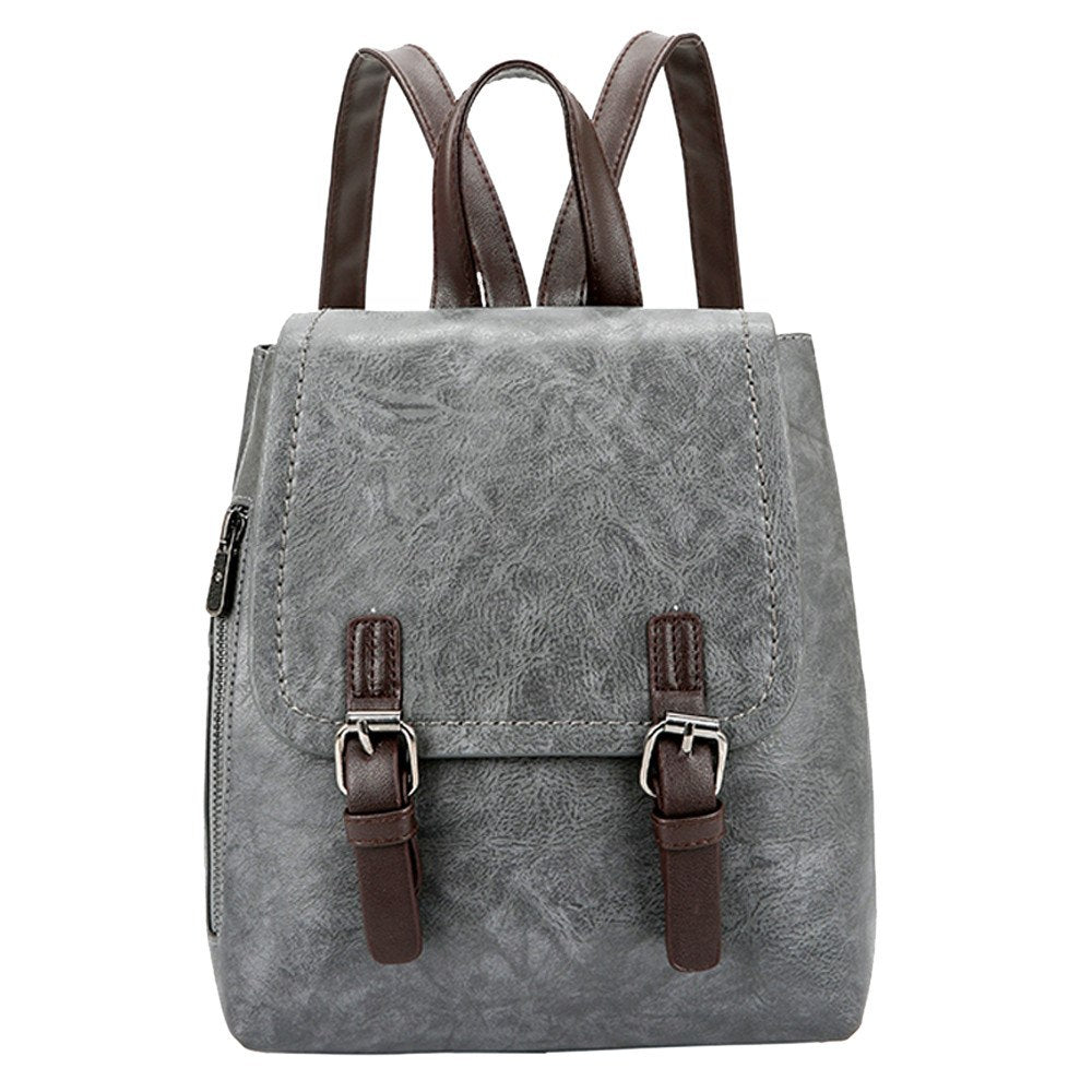 Costbuys  Women PU Leather Two Straps Backpack  for women Travel Satchel School Bag Backpack rucksack - Gray / United States