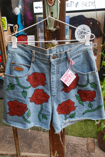 Denim Shorts w/ Red Roses
