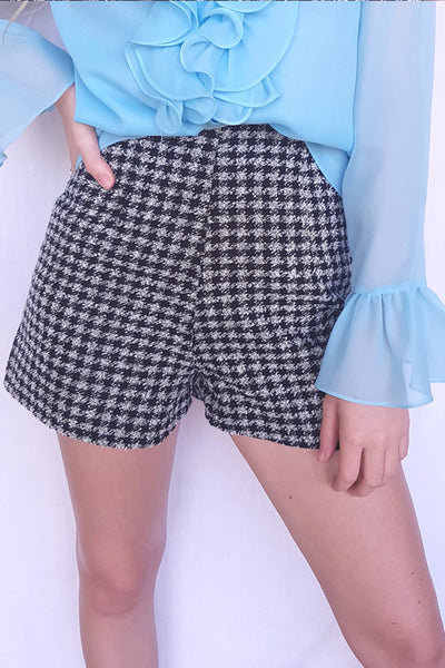 Houndstooth Fitted Shorts