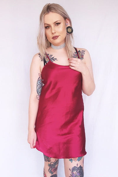 Wine Red Slip Dress